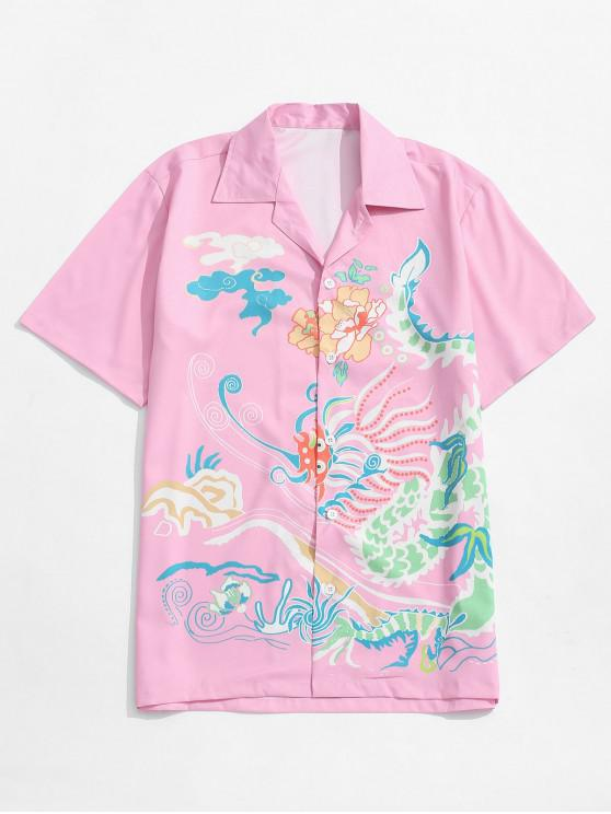 buy Pattern Painting Print Beach Casual Shirt - PIG PINK XL