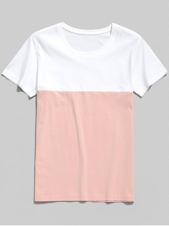 women's Color Block Casual Round Neck T-shirt - LIGHT PINK L