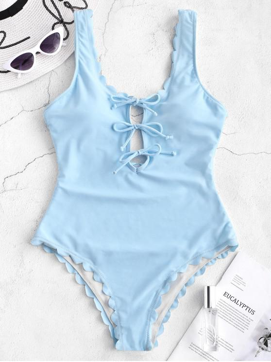 hot ZAFUL Lace Up Scalloped Open Back Swimsuit - LIGHT BLUE S