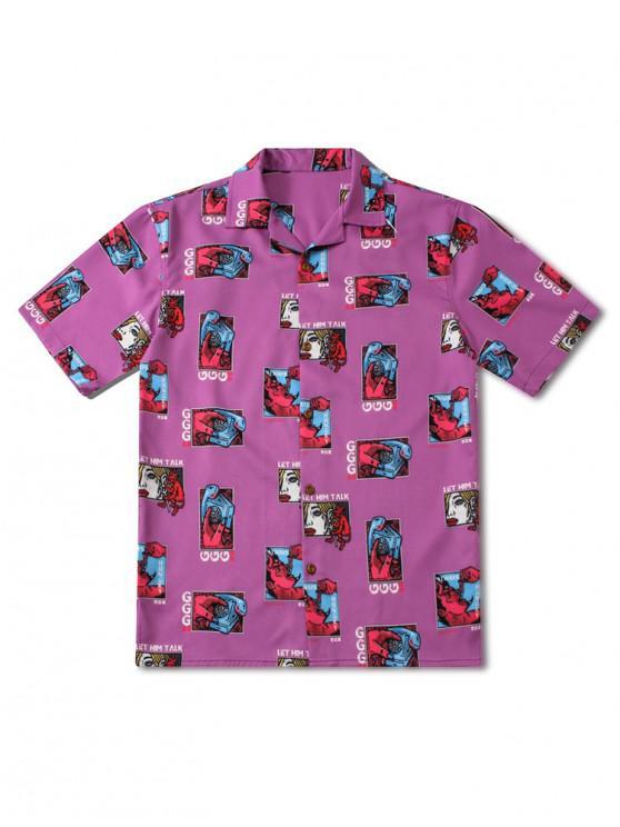 trendy Telephone Devil Letter Print Graphic Shirt - DARK ORCHID S