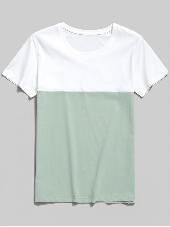 best Color Block Casual Round Neck T-shirt - MACAW BLUE GREEN M