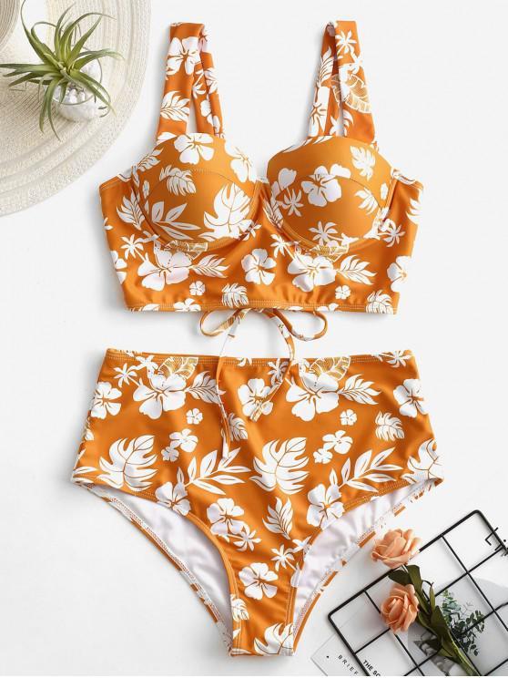fashion ZAFUL Flower Lace Up High Waisted Tankini Set - MANGO ORANGE S