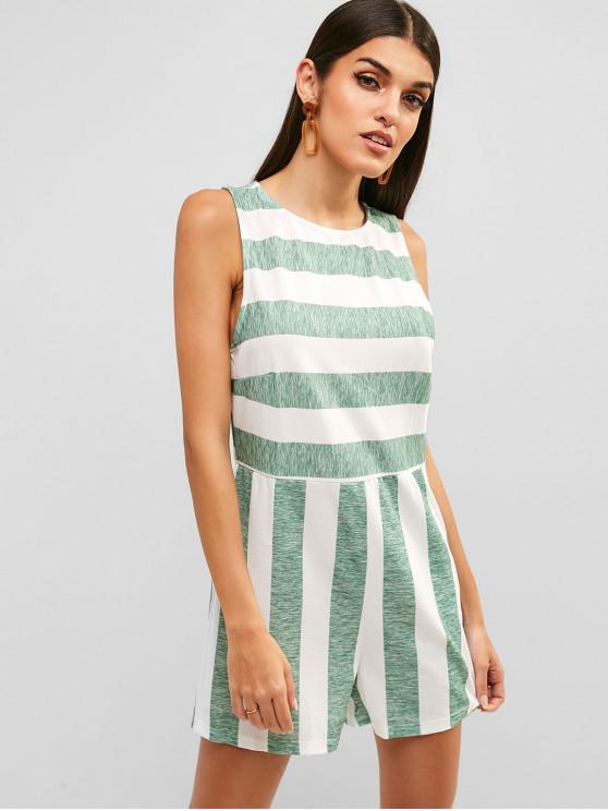 affordable Striped High Rise Hollow Out Romper - GREEN ONION XL