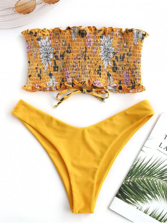 fashion ZAFUL Floral Lace-up Smocked Bikini Set - BRIGHT YELLOW S