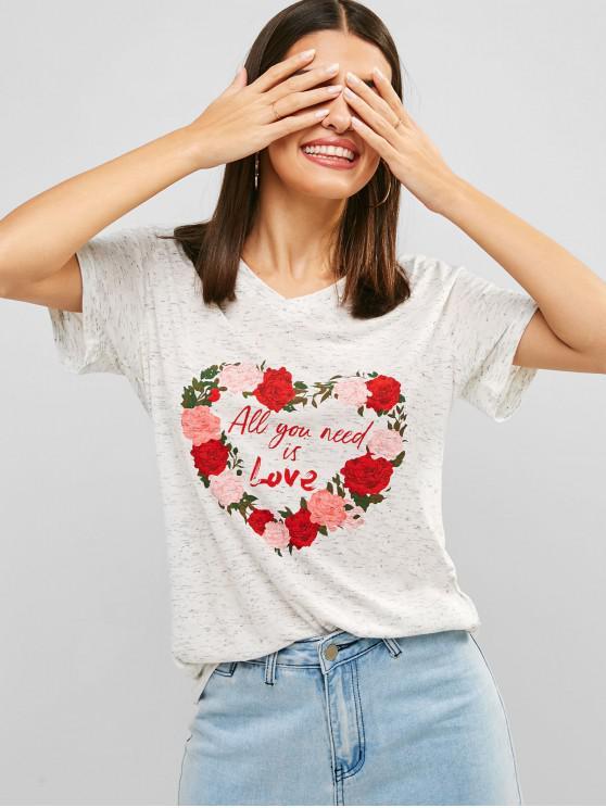 chic V Neck Space Dye Flower Print T-shirt - WHITE XL