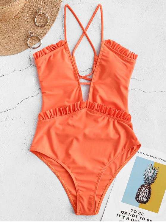 hot ZAFUL Ruffle Lace Up High Waisted Swimsuit - ORANGE L