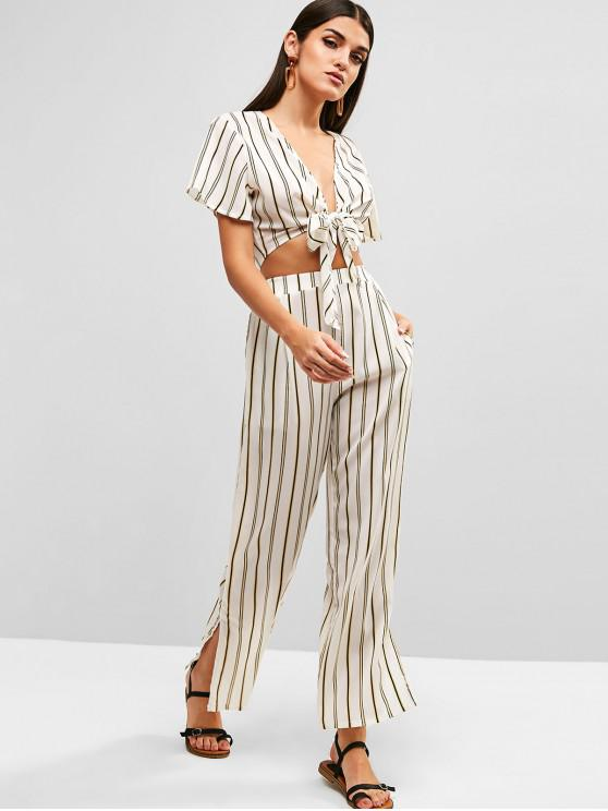 unique Striped Knotted Top and Slit Pants Set - WHITE S