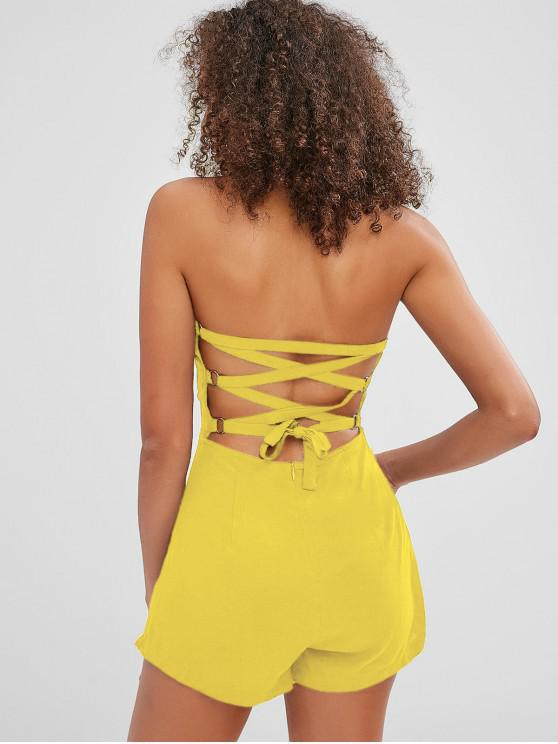 hot ZAFUL Back Lace-up Bandeau Romper - MUSTARD S