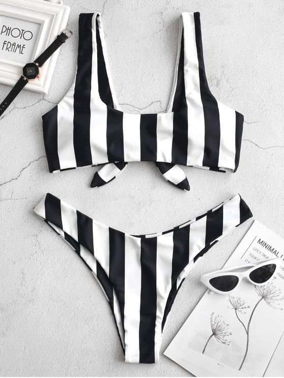 shop ZAFUL Knot Striped Bikini Set - BLACK L