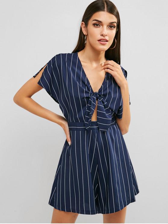 women Tie Front Striped Wide Leg Romper - DEEP BLUE M