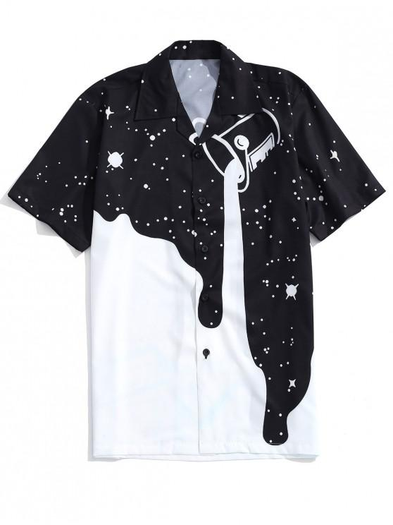 chic Pouring Milk Print Casual Shirt - WHITE XL