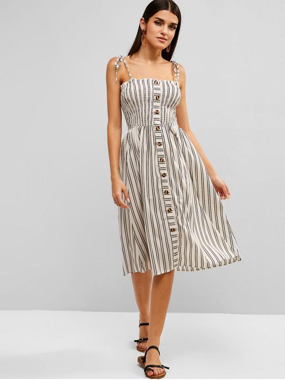 sale Smocked Stripes Buttoned A Line Dress - MULTI S