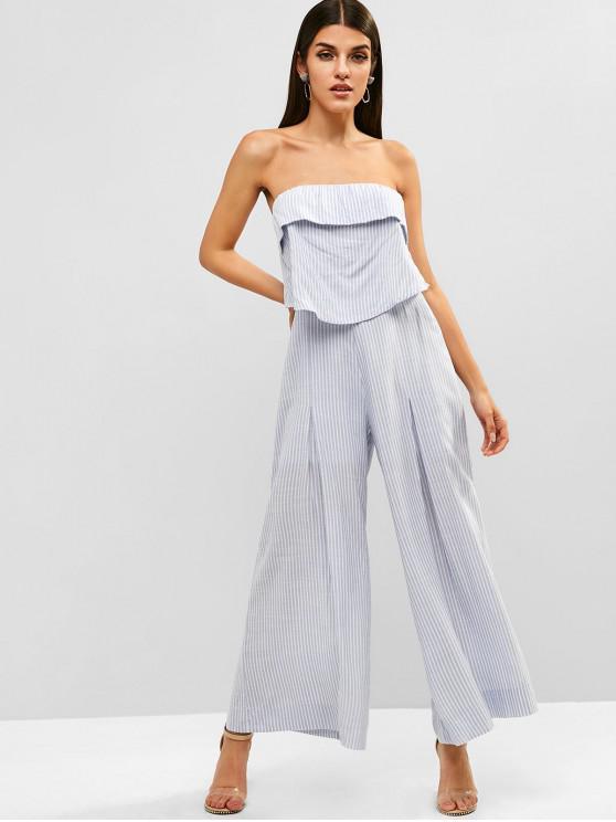 shop ZAFUL Flounce Striped Strapless Jumpsuit - SEA BLUE L