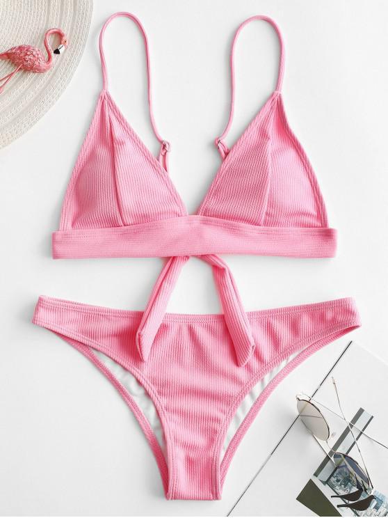 new ZAFUL Texture Ribbed Bikini Set - PINK L
