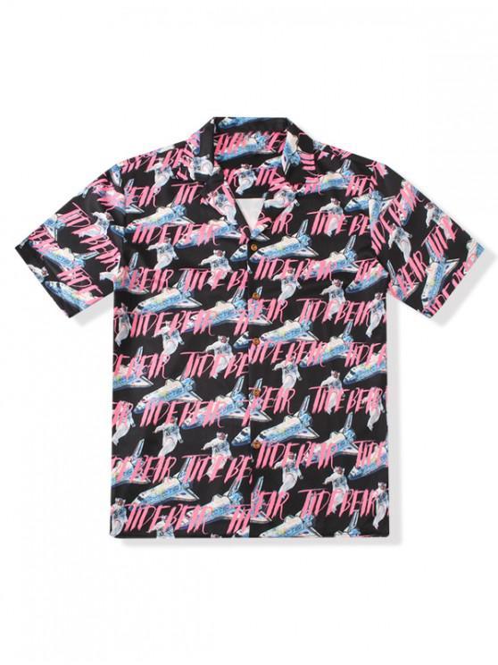 Brief Luftschiff Allover Print Button Shirt - Schwarz XL