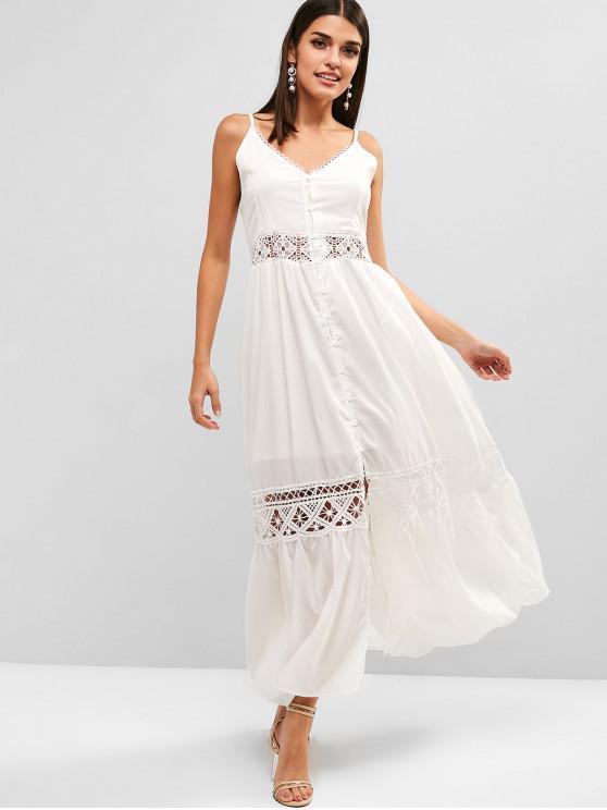 fancy Smocked Back Button Up Slit Cami Dress - WHITE S
