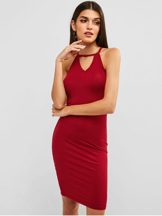 hot Sleeveless Strappy Bodycon Dress - RED L