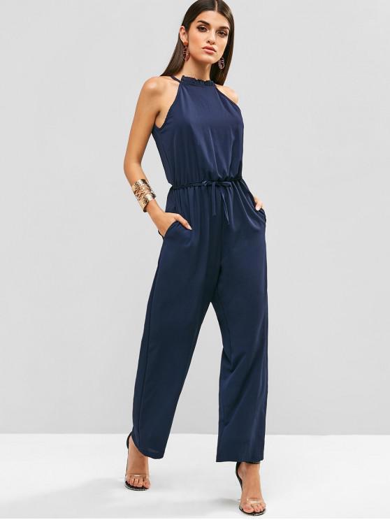 hot Textured Tie Wide Leg Jumpsuit - DEEP BLUE M