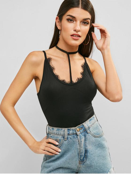 affordable Lace Insert Choker Cami Bodysuit - BLACK S