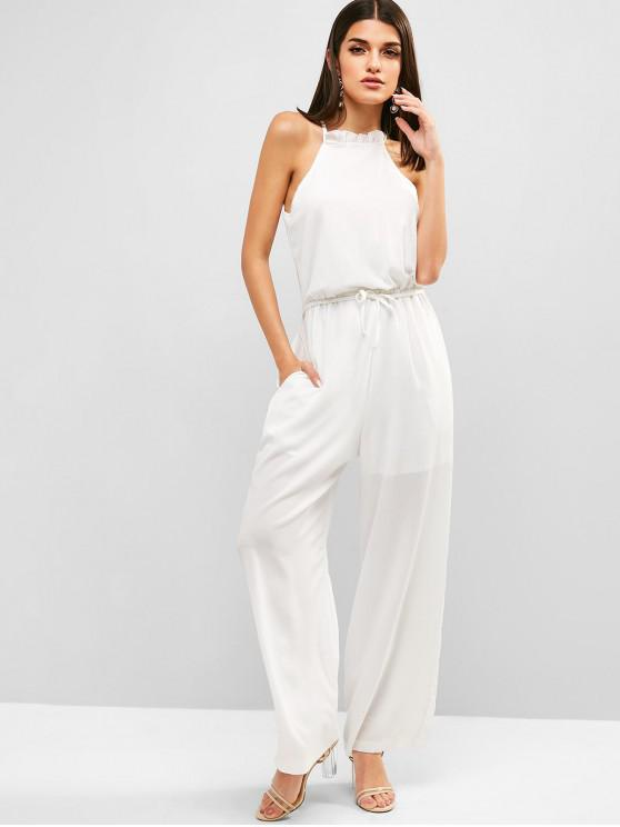 lady Textured Tie Wide Leg Jumpsuit - WHITE S