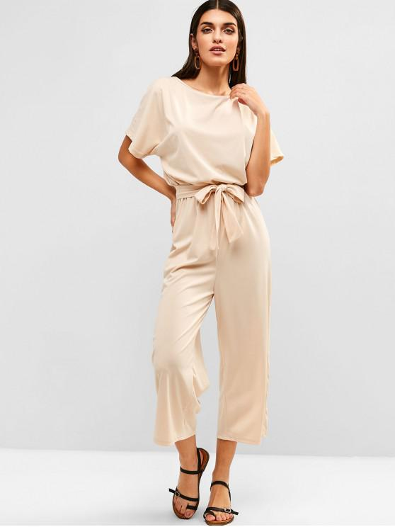 outfit Batwing Sleeve Keyhole Belted Jumpsuit - APRICOT L