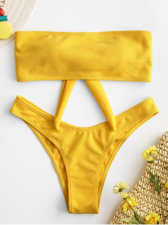 women's ZAFUL Texture Ribbed Bandeau Bikini Set - YELLOW S