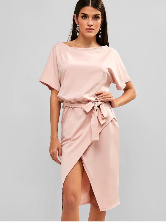 affordable Boat Neck Knee Length Split Belted Dress - LIGHT PINK L