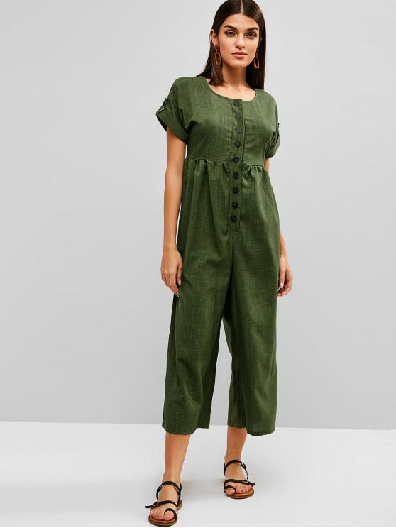 new Rolled Sleeve Buttoned Wide Leg Jumpsuit - FERN GREEN M