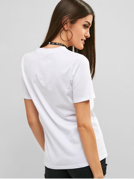 RondBlanc Avec Graphique M Décontracté T Col shirt Et Lettre bI6vY7fgy
