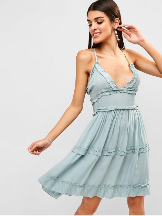online Criss Cross Frilled Cami Dress - CYAN OPAQUE L