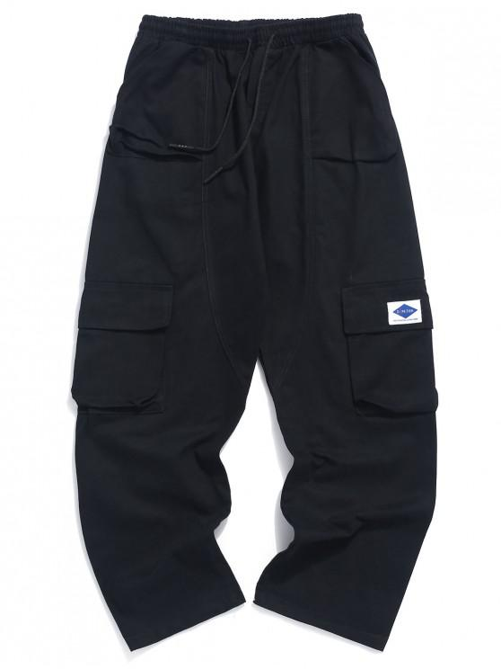a56cefd0693 37% OFF] [POPULAR] 2019 Solid Color Applique Drawstring Pants In ...