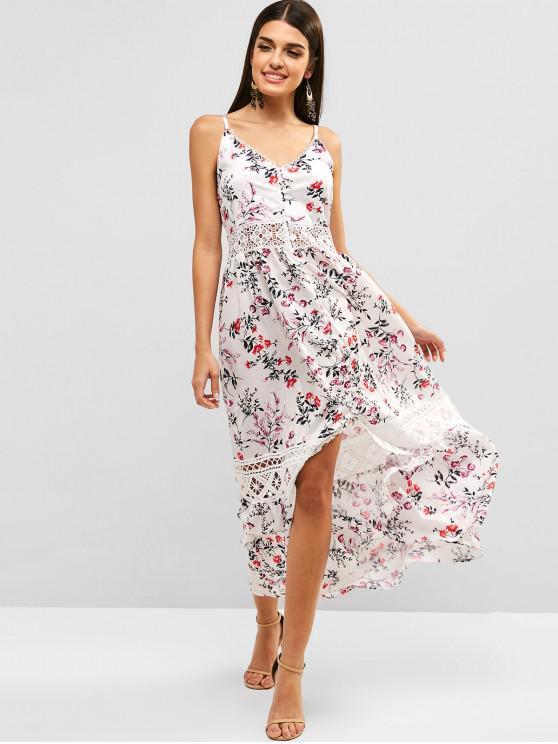 womens Crochet Trim Button Up Slit Floral Dress - WHITE S