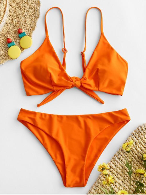 women ZAFUL Knotted Padded Cami Bikini Set - DARK ORANGE M