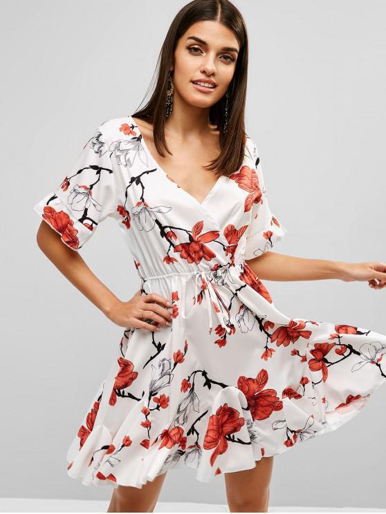 Mini vestido floral de Surplice A Line - Blanco S