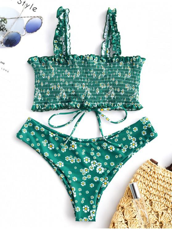 affordable ZAFUL Floral Smocked Lace Up Bikini Set - MULTI-A L