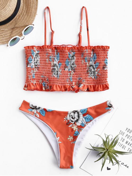 shops ZAFUL Flower Smocked Reversible Bikini Set - MULTI-A L