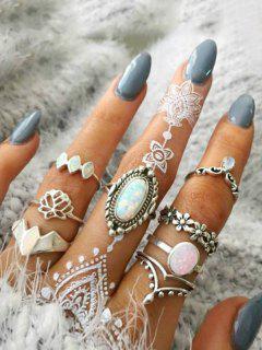 Eight Piece Faux Gemstone Ring Set - Silver