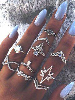 Ten Piece Simple Diamante Ring Set - Silver