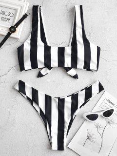 ZAFUL Knot Striped Bikini Set - Black M