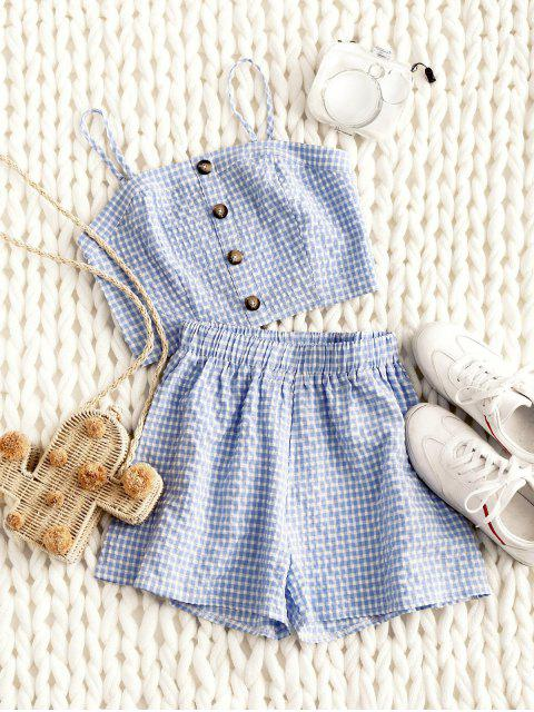 buy ZAFUL Smocked Gingham Buttoned Top And Shorts Set - DENIM BLUE M Mobile