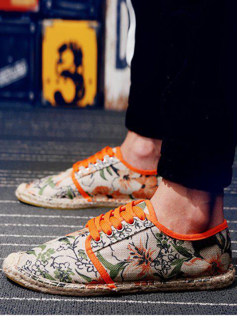 shops Flower Pattern Espadrille Shoes - TIGER ORANGE EU 41 Mobile