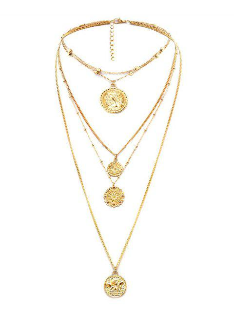 outfit Head Portrait Layered Necklace - GOLD  Mobile