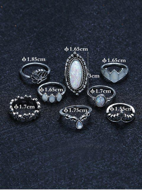 lady Eight Piece Faux Gemstone Ring Set - SILVER  Mobile