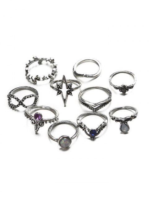 buy Ten Piece Simple Diamante Ring Set - SILVER  Mobile