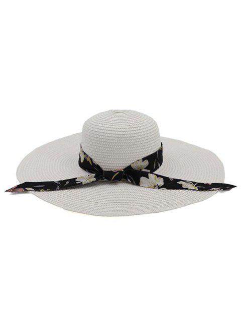 unique Ribbon Folding Beach Straw Sun Hat - WHITE  Mobile