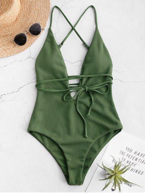 trendy ZAFUL Criss Cross Ribbed Backless Swimsuit - MEDIUM FOREST GREEN L Mobile