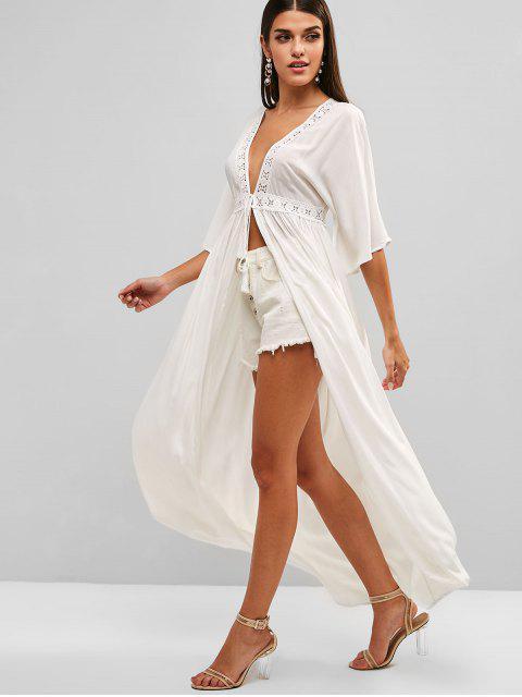 Vestido longo de cobertura de praia - Branco M Mobile