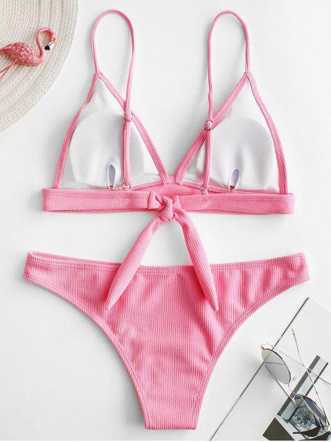shops ZAFUL Texture Ribbed Bikini Set - PINK S Mobile