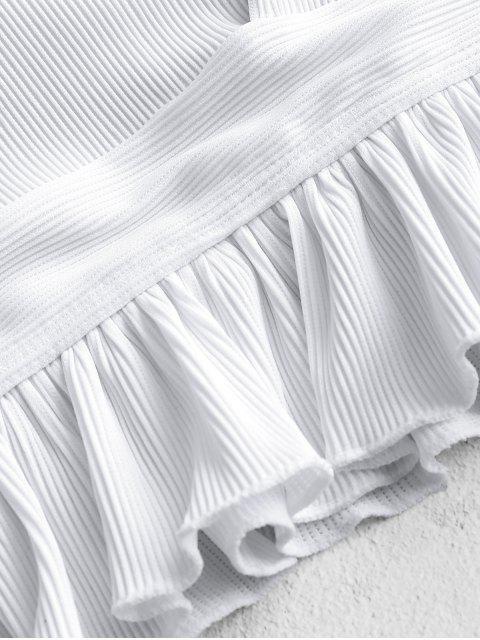 best ZAFUL Ruffle Textured Ribbed Tankini Set - WHITE S Mobile