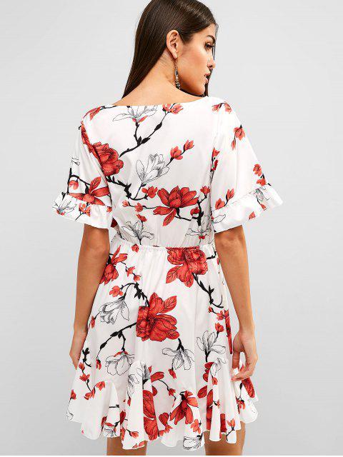 Mini vestido floral de Surplice A Line - Blanco L Mobile